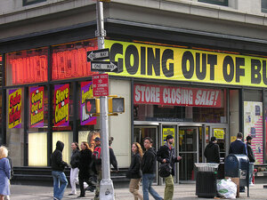 Going Out Of Business signs at Tower Records; credit: