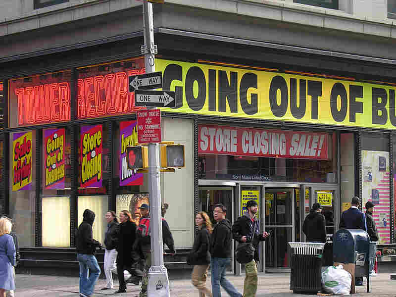 Going Out Of Business signs at Tower Records; credit: Paolo!/flickr