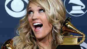 Carrie Underwood after her Best New Artist win at the 2007 Grammys; Gabriel Bouys/AFP/Getty