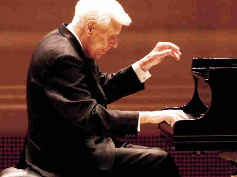American pianist Earl Wild performs at his 90th birthday recital at Carnegie Hall.