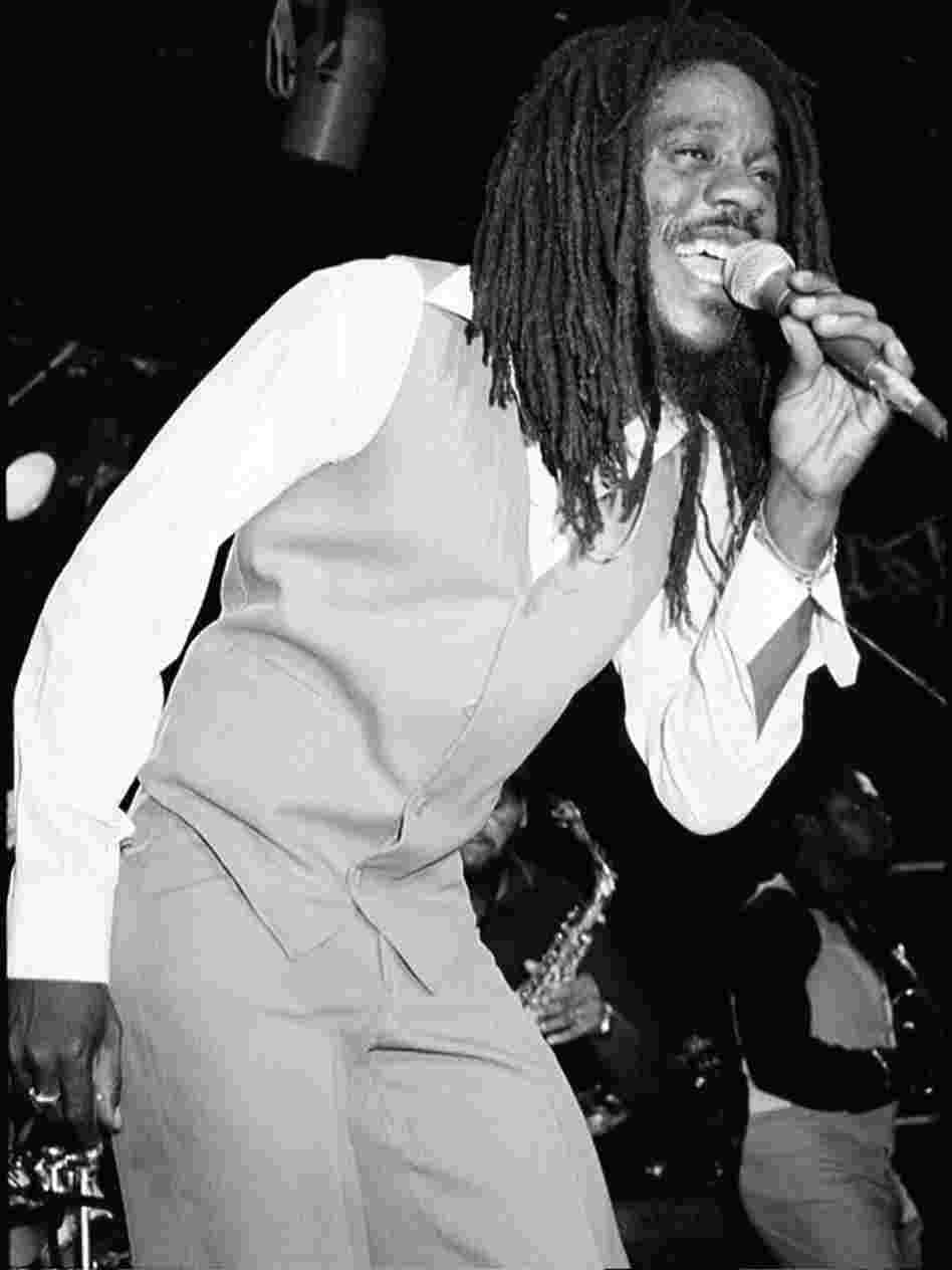 Dennis Brown onstage.