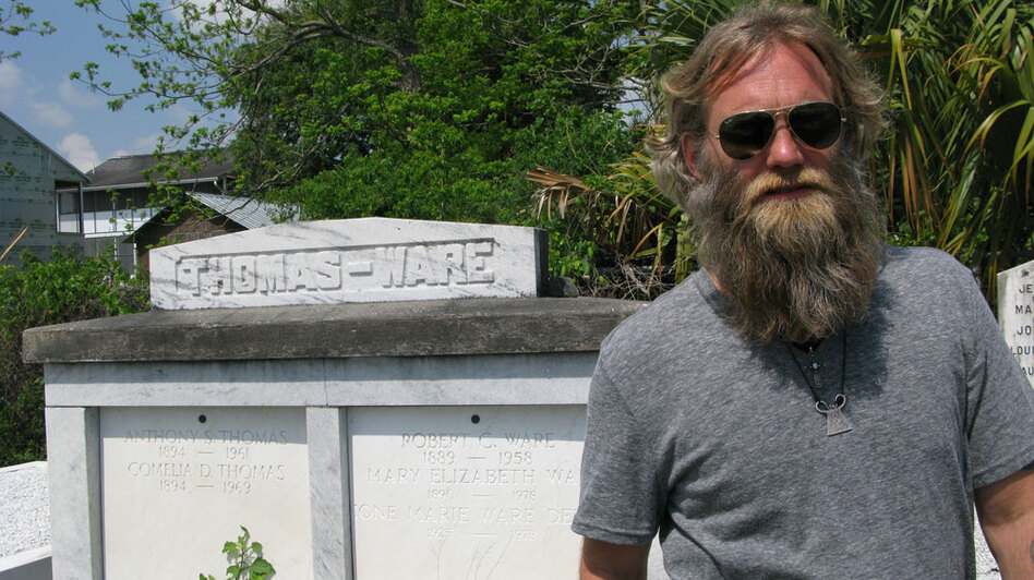 Osborne stands in St. Louis Cemetery #3, where he proposed to his wife, Sarah.