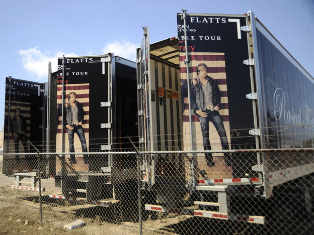 Instruments weren't the only musical material possessions lost in last week's Nashville floods. Pictured here: Rascal Flatts tour trucks parked at Soundcheck's equipment storage facility.