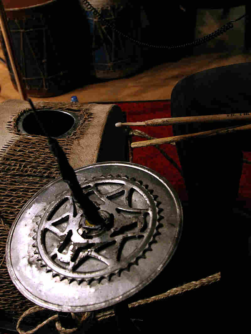 Kenge Kenge often makes its instruments out of recycled material, like this tin drum.