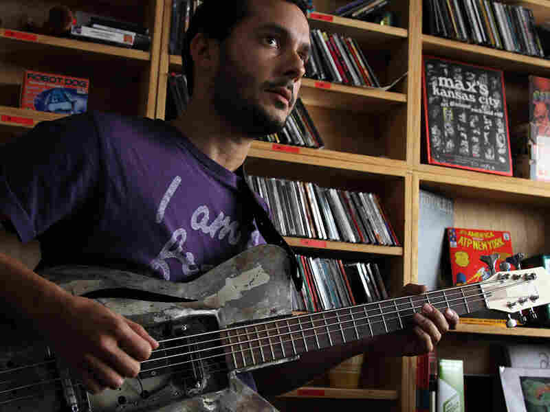 "Aron Sanchez of Buke and Gass plays the ""gass"" at the Tiny Desk."