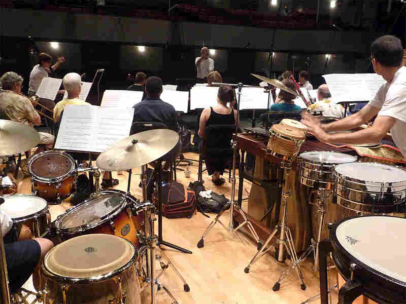 Gil Rose rehearses the American Composers Orchestra during the Jazz Composers Orchestra Institute