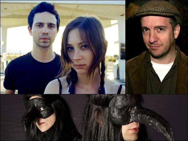 Top left: Micah Calabrese and Annie Hardy of Giant Drag; right: Stephin Merritt of The Magnetic Fields; bottom: Karin Dreijer Andersson and Olof Dreijer of The Knife.