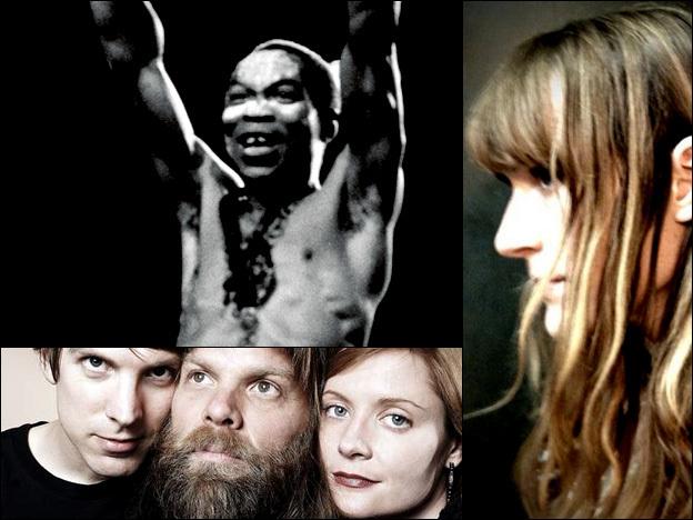 Clockwise from upper left:  Fela Kuti, Laura Gibson, Shearwater.