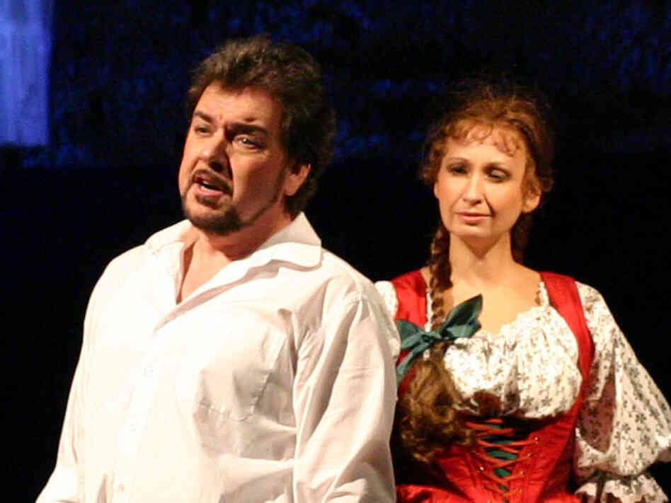 "Pavla Vykopalova (right) and Pavel Cernoch play the lovers in Smetana's ""Bartered Bride."""