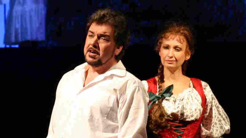 """Pavla Vykopalova (right) and Pavel Cernoch play the lovers in Smetana's """"Bartered Bride."""""""