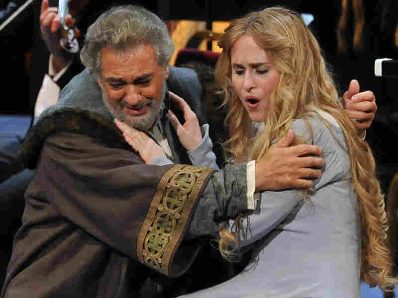Boccanegra (Placido Domingo) discovers that Amelia (Marina Poplavskaya) is his long-lost daughter.