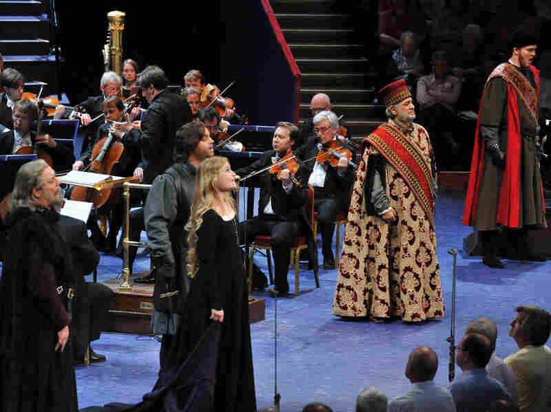 "Curtain call at the BBC Proms for the cast of ""Simon Boccanegra."""