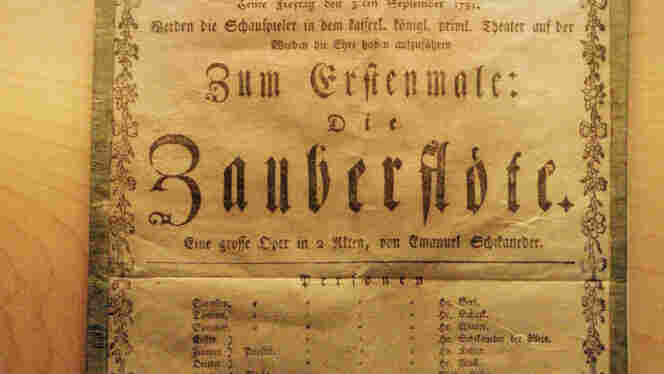 The original poster advertising the premiere of The Magic Flute on Sept. 30, 1791, is on display at the birth home of Wolfgang Amadeus Mozart.
