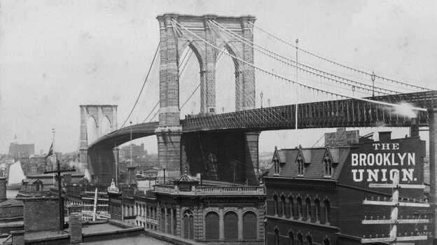 The Brooklyn Bridge in 1884. Dvorak would arrive in New York eight years later to head the National Conservatory of Music.