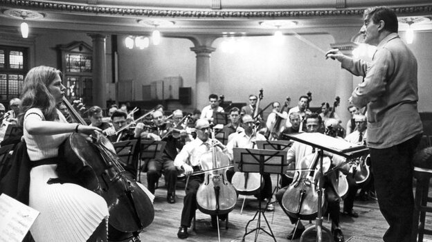 Cellist Jacqueline Du Pre records Elgar's Cello Concerto with conductor John Barbirolli at Kingsway Hall in London, 1965.