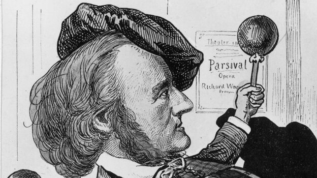 A caricature of composer Richard Wagner.