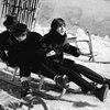 The Beatles on a toboggan in Austria in 1965.