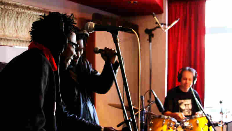Burkina Electric performs at the Cutting Room Studios in New York City.