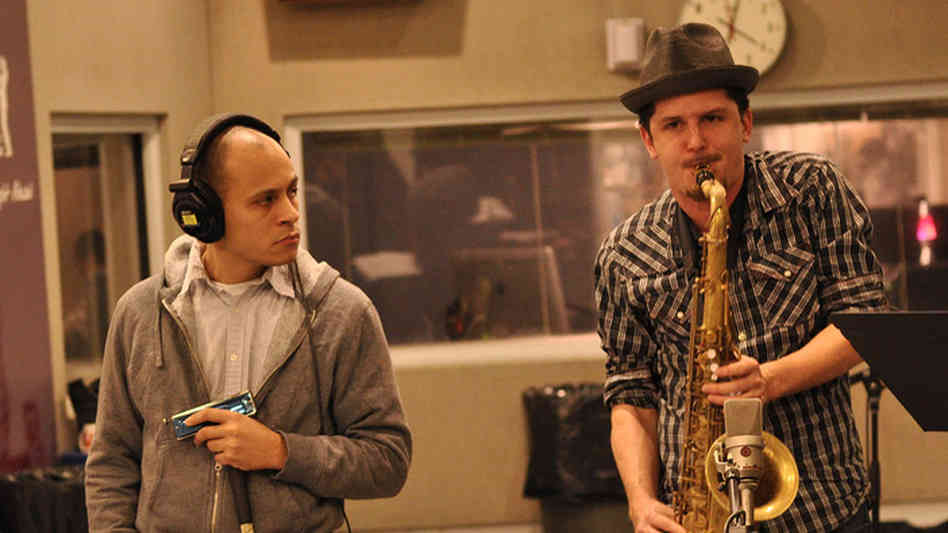 Gregoire Maret and John Ellis of Double-Wide perform at WBGO.
