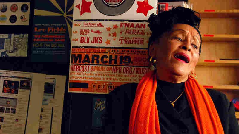 Omara Portuondo perfomring a Tiny Desk Concert.