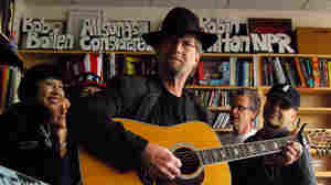 The Rock Bottom Remainders performing a Tiny Desk Concert at NPR Music offices.