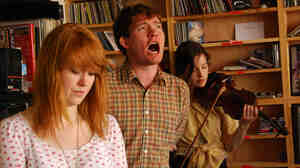 Los Campesinos! performing a Tiny Desk Concert at the NPR Music offices.