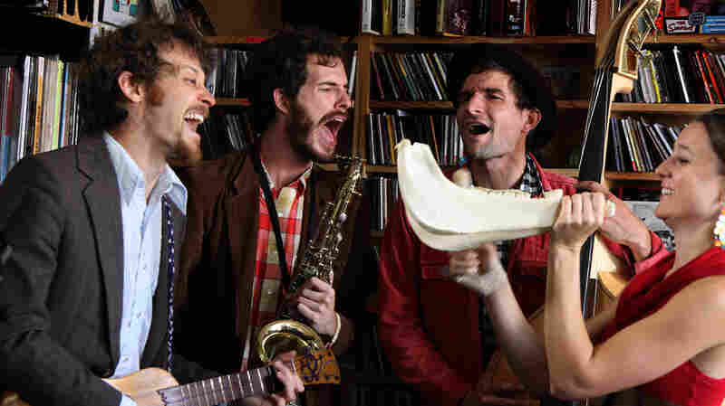 David Wax Museum performs a Tiny Desk Concert at the NPR Music offices.