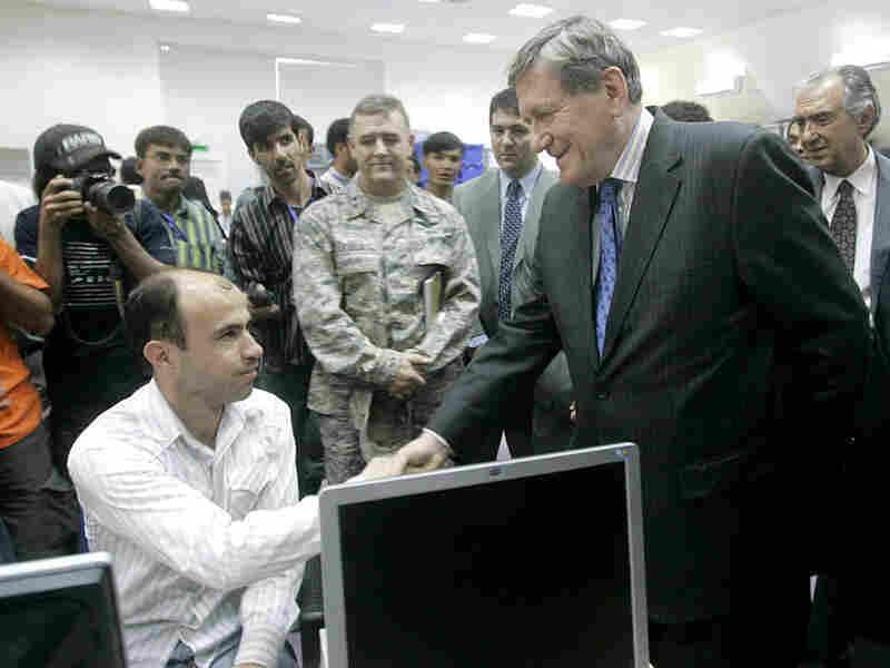 Ambassador Richard Holbrooke visits the Independent Election Commission in Kabul.