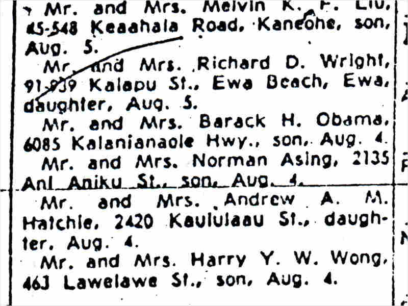 President Obama's birth announcement from 1961