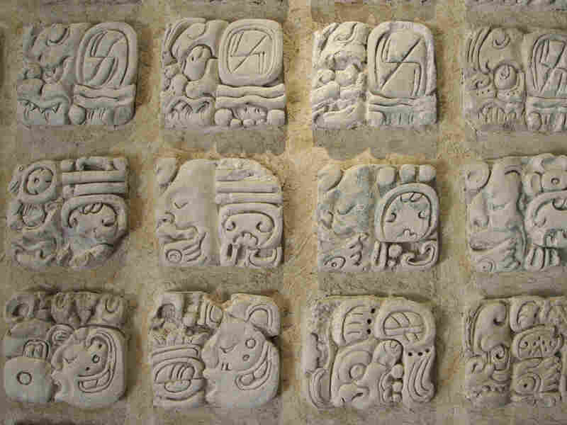 Stone tablet of a calendar used by the Mayan culture in Guatemala and Mexico