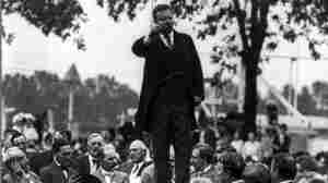 Teddy Roosevelt accepts the presidential nomination in Chicago, 1912.