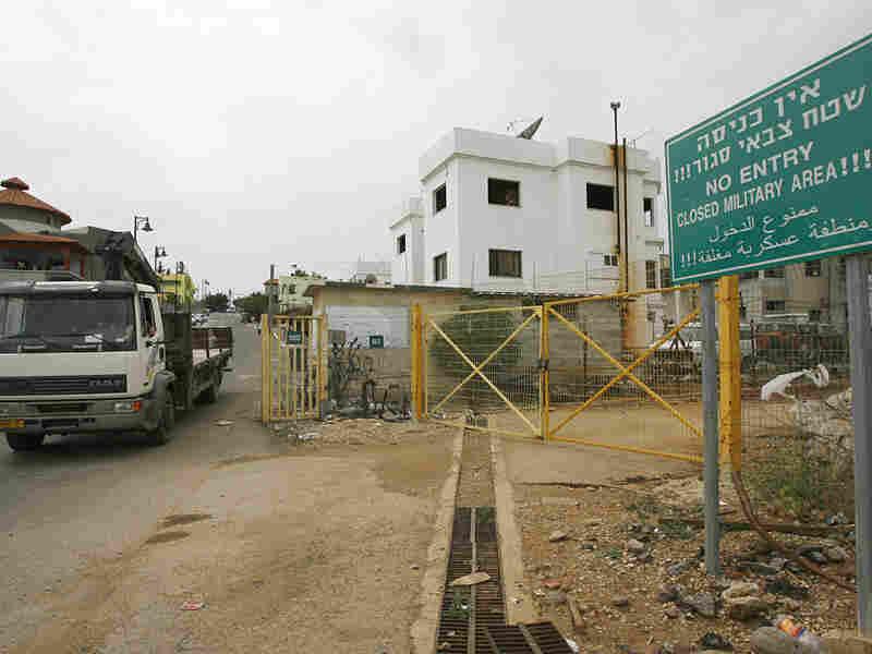 The entrance to the divided village of Ghajar on the Israeli-Lebanese border.