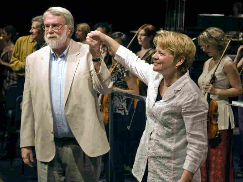 Conductor Marin Alsop (right) with composer Christopher Rouse at the Cabrillo Music Festival