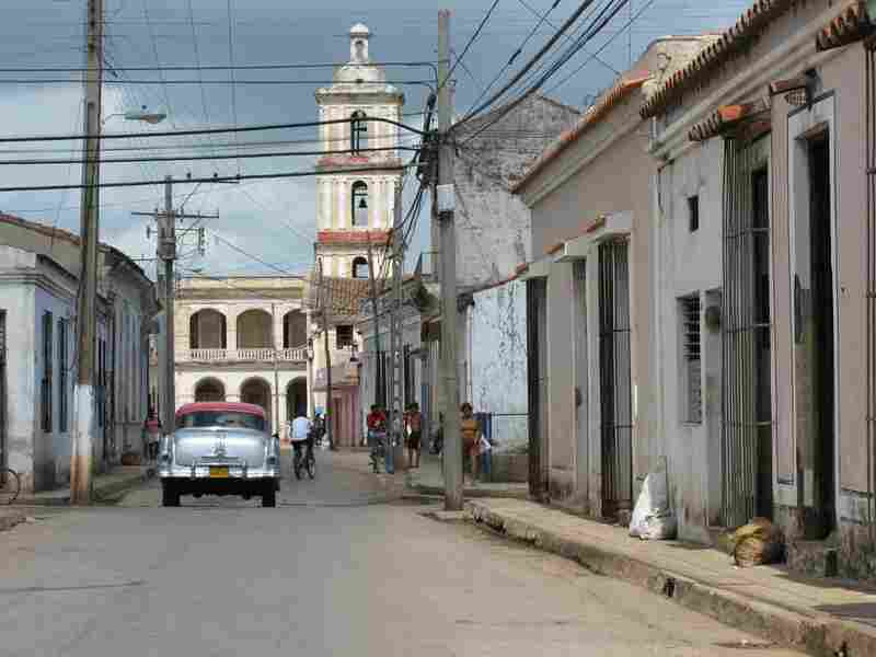 An American car from the 1950s before the Cuban Revolution in the northern coastal town of Caibarien