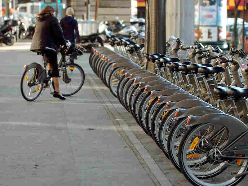 A row of Velib rental bicycles sits in a rack in central Paris in 2007.