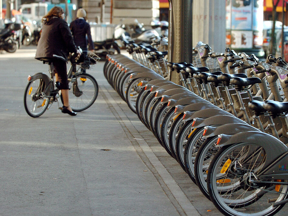 A row of Velib rental bicycles sits in a rack in central Paris shortly after the program was introduced in 2007.