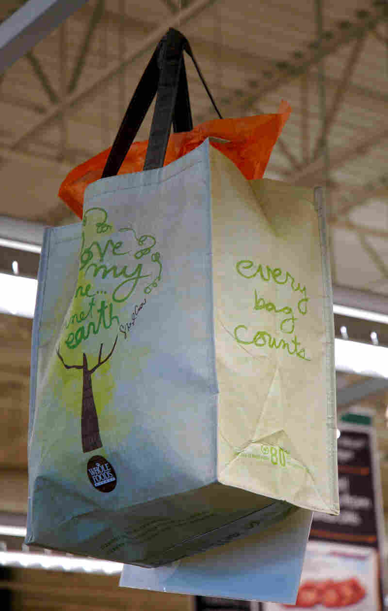 A reusable bag at the Whole Foods in Boston.