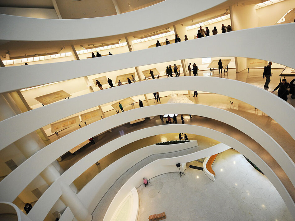 """A contemporary view of the interior walkways at the Guggenheim Museum. The New York landmark marks its 50th anniversary with an exhibition titled """"Frank Lloyd Wright: From Within Outward."""""""