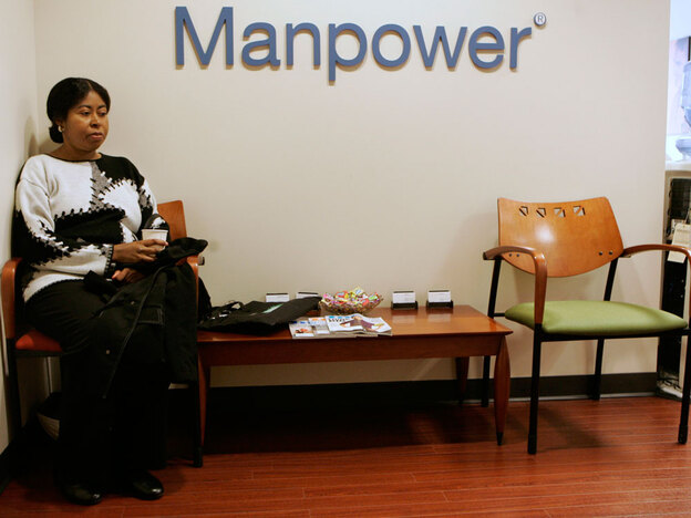 Linda Short waits to talk to a staffing specialist at Manpower, a temporary job placement firm, in San Francisco. The agency says that even when the economy improves, some of her clients won't staff back up to prior levels.