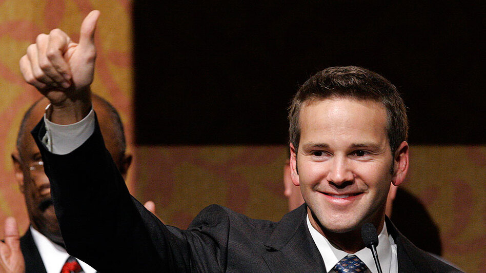 Aaron Schock after winning the 18th Congressional District Republican primary race in Peoria, Ill., Feb. 5, 2008.