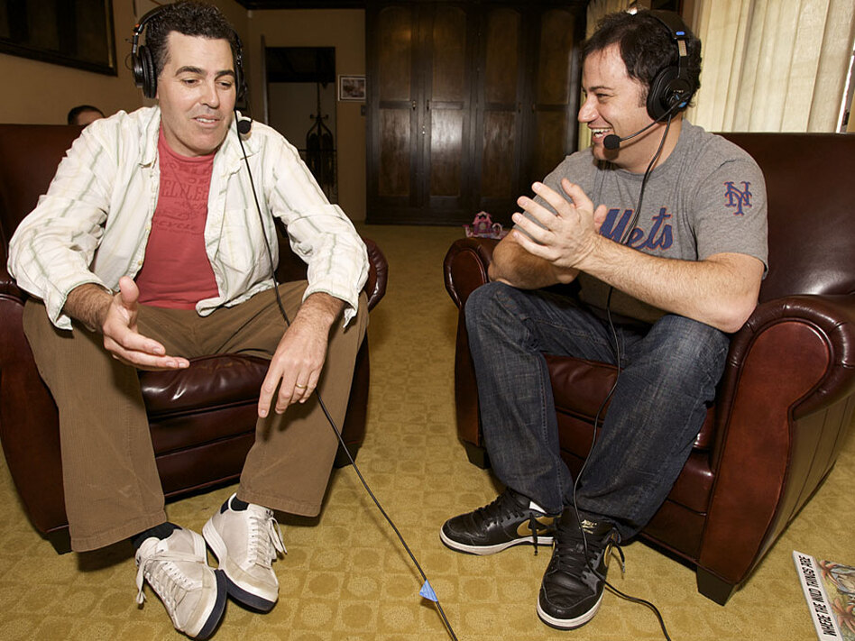 Adam Carolla (left) seen here with Jimmy Kimmel during the <em>Adam Carolla Podcast,</em> has made a successful transition from radio.