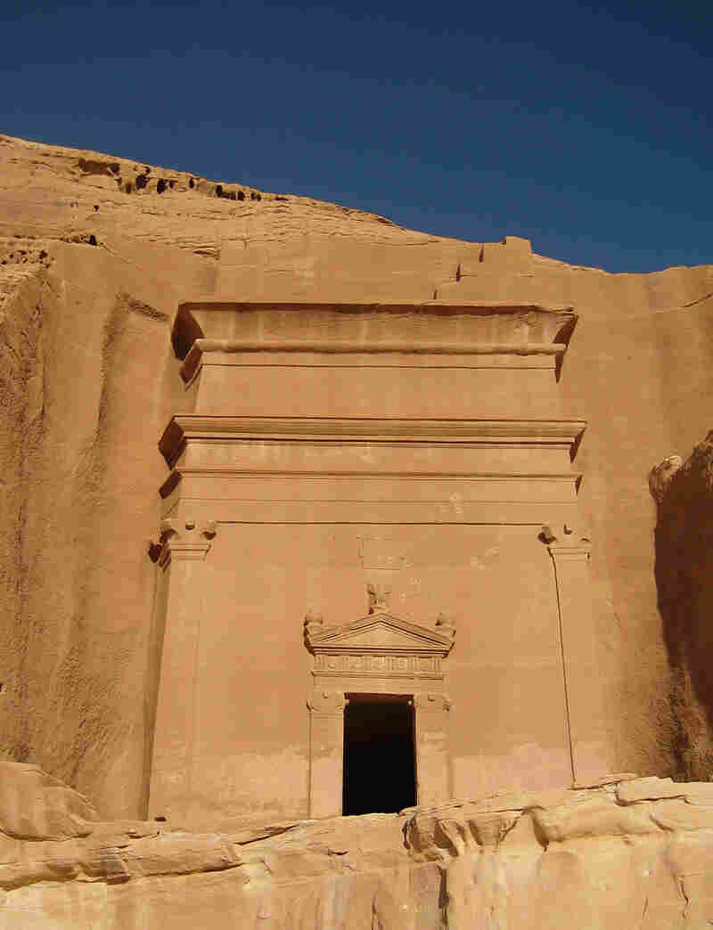 A facade on a Nabatean tomb.