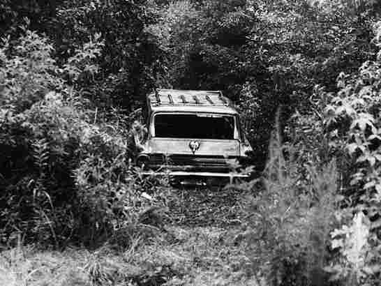 The burned-out station wagon of James Chaney, Andrew Goodman and Michael Schwerner.