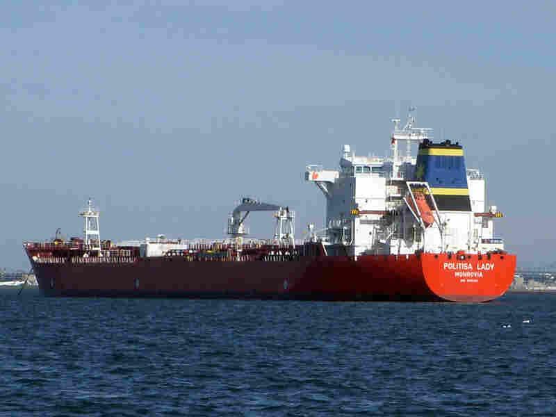The Liberian tanker Politisa Lady anchored near Massachusetts Bay.