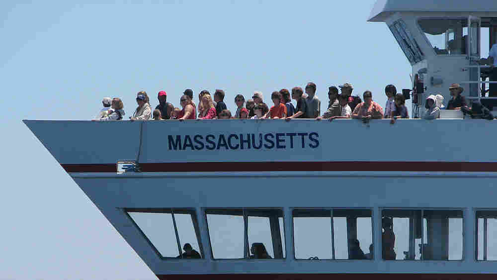 Passengers on a whale watching ship in Massachusetts Bay