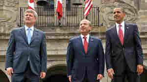 Wide: President Barack Obama, President Felipe Calderone and Prime Minister Stephen Harper