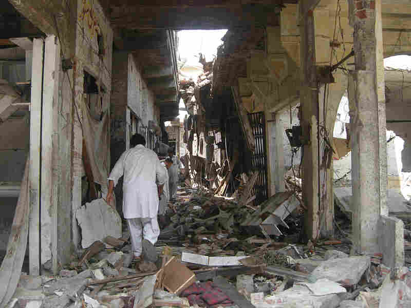Shops in Mingora, the main town in Pakistan's Swat Valley, are reduced to rubble.
