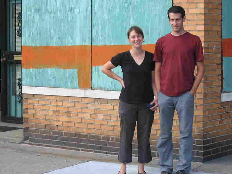 Mitch Cope and Gina Reichert in front of their East Detroit house