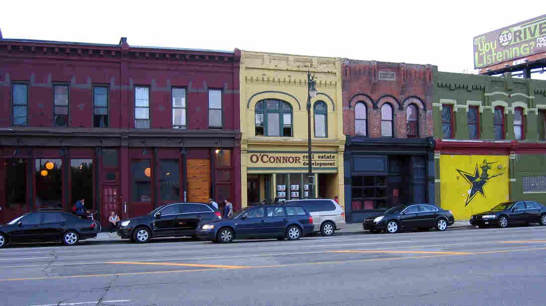 A block of buildings in Detroit