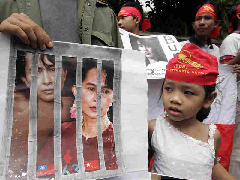 Activists protest outside the Myanmar Embassy in Bangkok, Thailand.